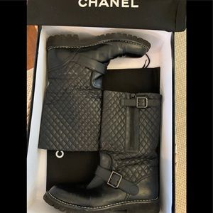 CHANEL black quilted leather CC mid calf boots 10